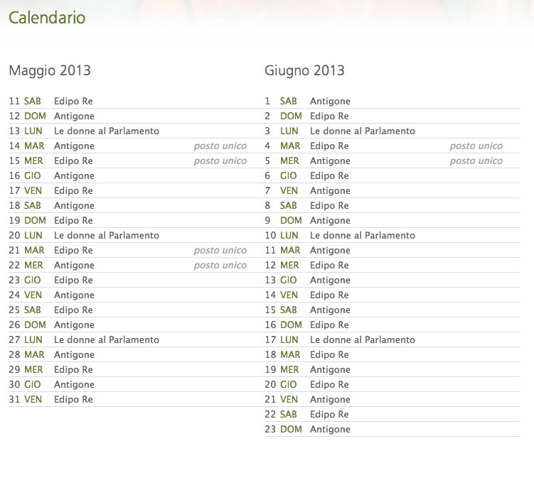 Calendario Greco.Calendario Stagione 2013 Rappresentazioni Siracusa B B Catania